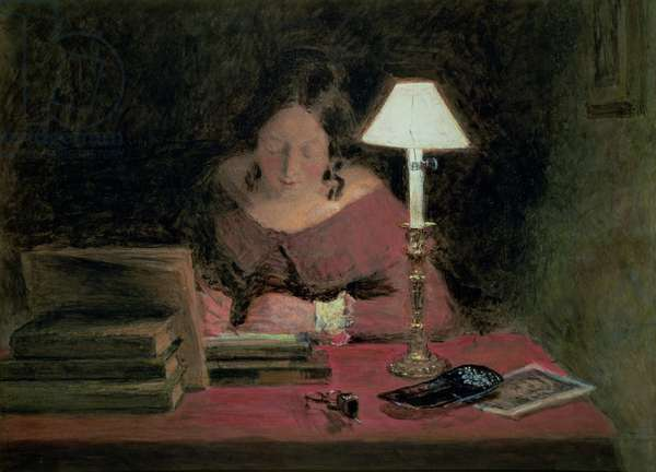 Girl Writing by Lamplight, c.1850