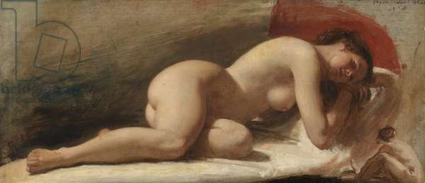 Study of a reclining female nude, 1843 (oil on board)