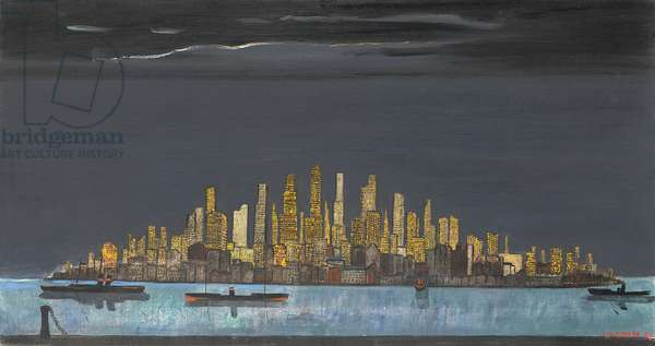 New York at Night, 1955 (oil on canvas)