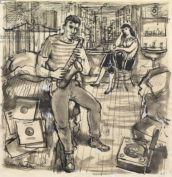 The Rat Race, 1955 (pen & ink, w/c & bodycolour on paper)