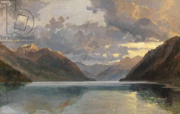 Lake Lucerne (oil on paper)