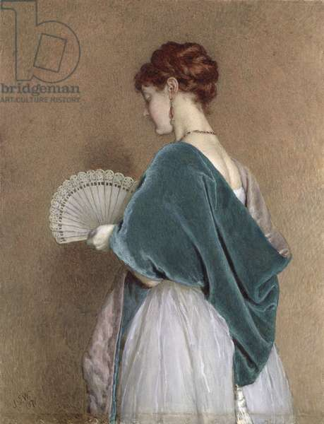 Woman with a Fan, 1871 (pencil & w/c on paper)