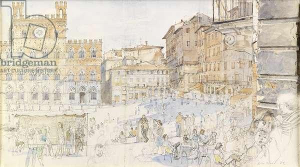 Il Campo, Siena, 1982 (w/c on paper)