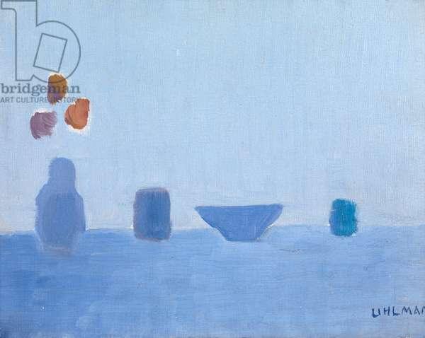 Still Life in Blue (oil on board)