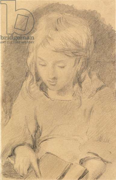 A Young Girl Carding Wool (pencil on paper)