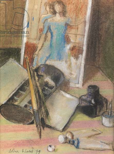 Postcard and Paintbox, 1994 (pastel on paper)