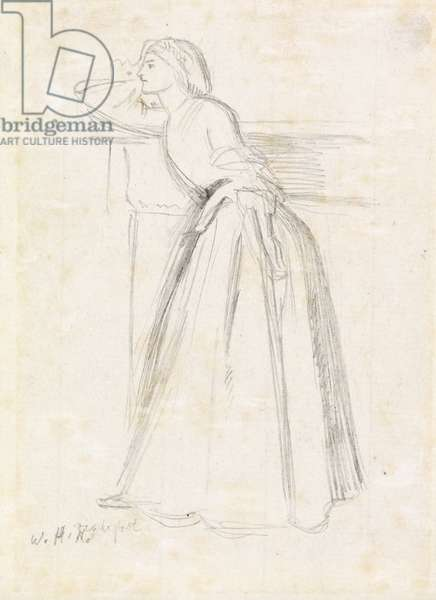 A Girl Leaning on a Mantelpiece (pencil on paper)