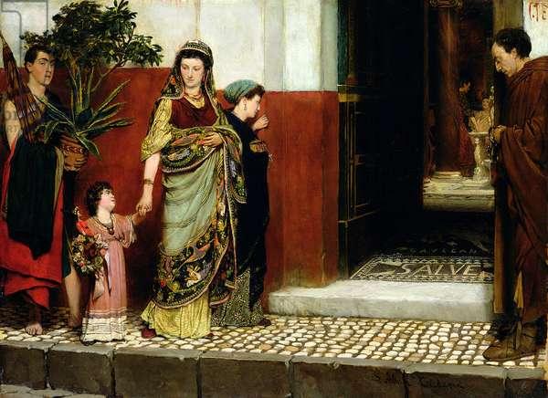Returning from Market, 1865 (oil on panel)