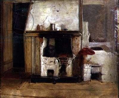 A Kitchen Hearth (oil on canvas)