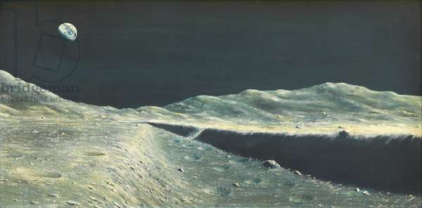 Lunar Landscape V: Edge of a Rill [the Earth above], 1970 (oil on board)