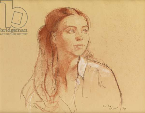 A Young Woman, 1979 (pencil & pastel on paper)