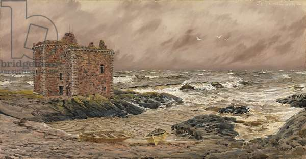 South-East Gale at Portencross Castle, 1886 (oil on canvas)
