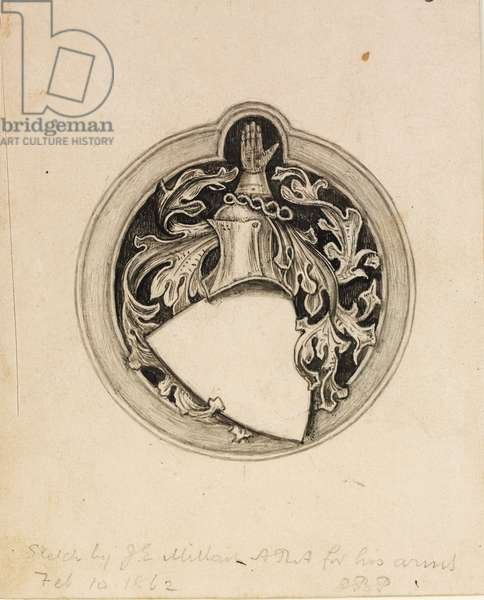 Sketch for the Millais coat of arms, 1862 (pencil with pen & ink on paper)