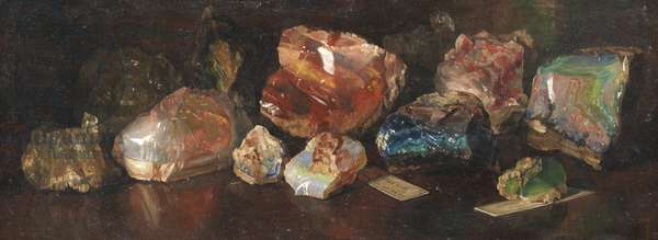 Still Life of Mineral Specimens, c.1890s (oil on canvas)