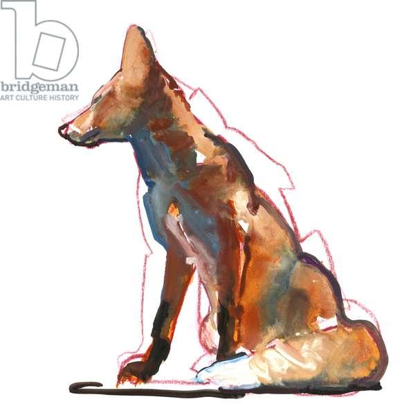 Pyramid fox, 2021 (mixed media on paper)