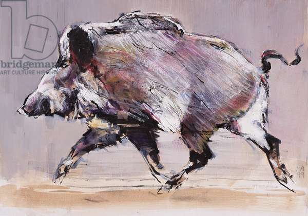 Running boar, 1999 (mixed media on paper)