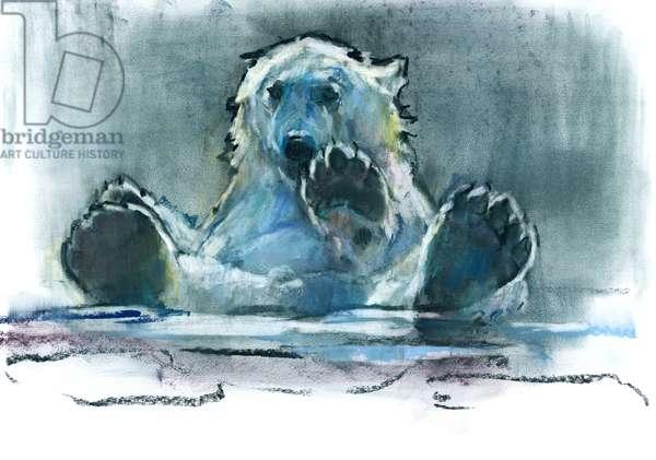 Ice Bath, 2016, (conté and pastel on paper)