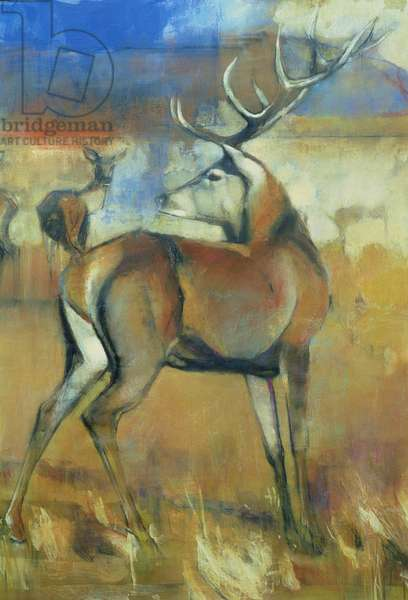 Red Stag, detail from Gathering Deer, 1998 (mixed media and collage on paper) (detail of 117689)