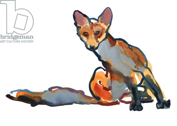 Young Vixen Grooming, 2021 (mixed media on paper)