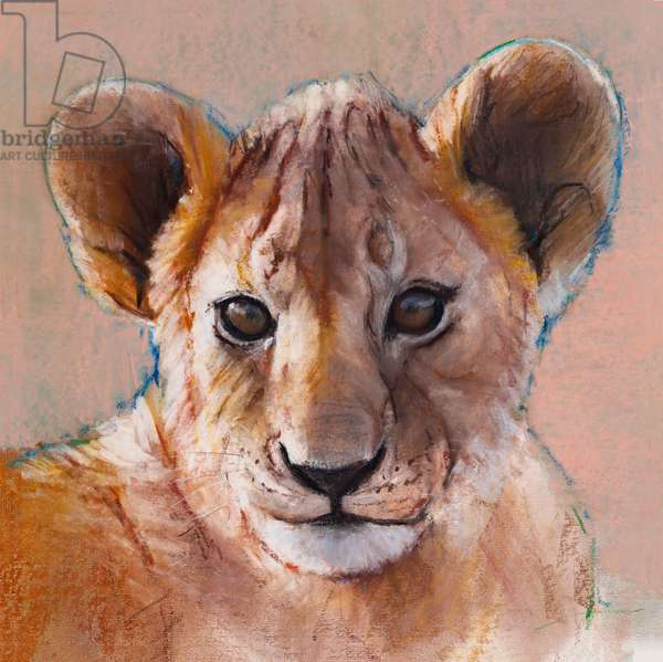 Youngest Cub, Masai Mara, 2019, (conté and pastel on paper)