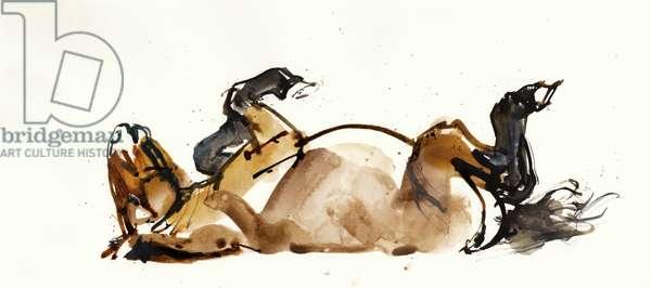 Rolling Horse (Przewalski), 2013 (sennelier ink, watercolour and gouache)