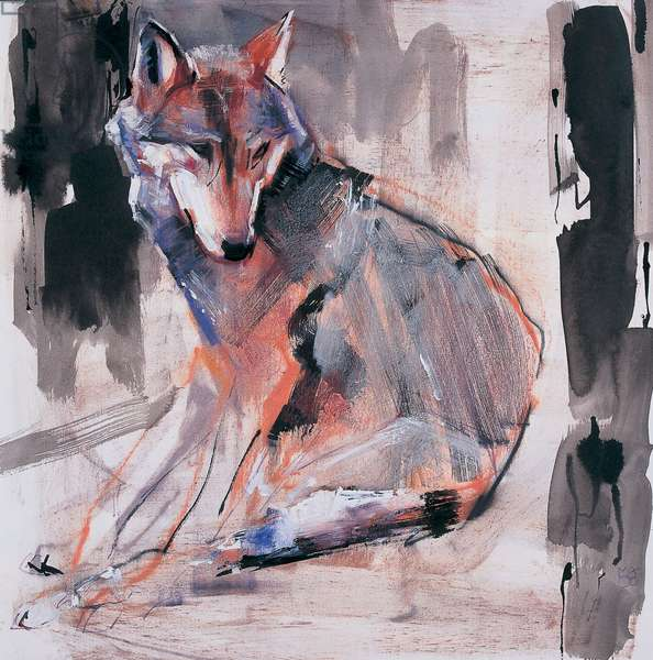 Sitting Wolf, 2000 (mixed media on paper)