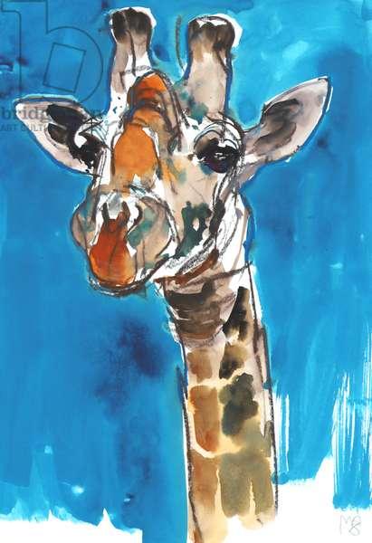 Blue Sky Giraffe, 2018, (mixed media)