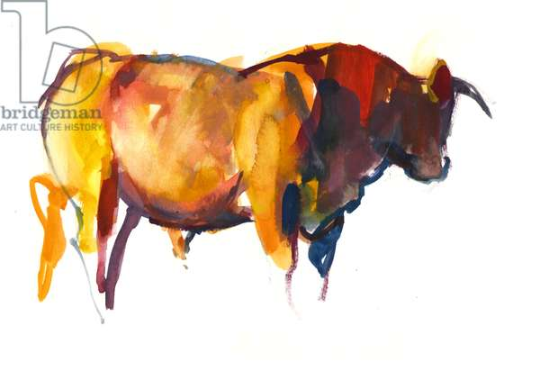 Sunset Bull, 2010 (watercolour and gouache on paper)
