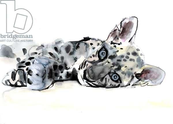 Arabian Leopard Cub, 2008 (w/c on paper)