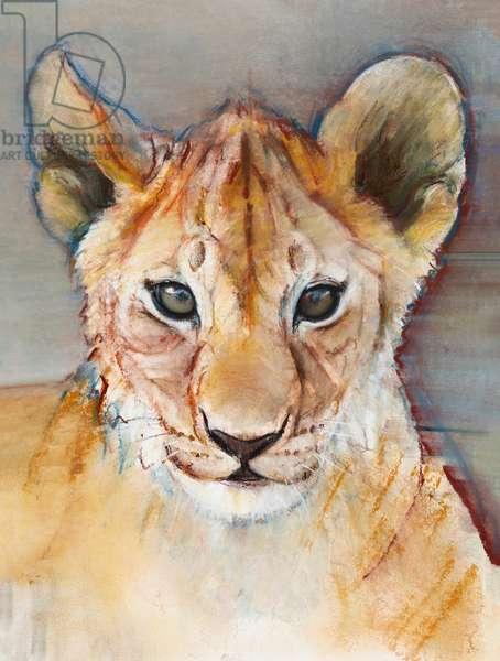 Fierce cub, Masai Mara, 2019, (conté and pastel on paper)