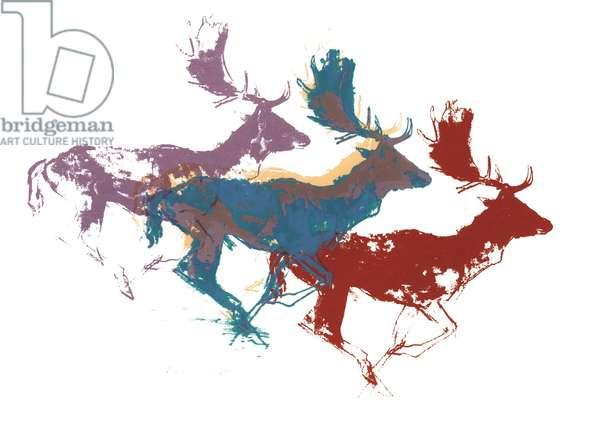 Fallow Bucks (three), 2015, (screen print)