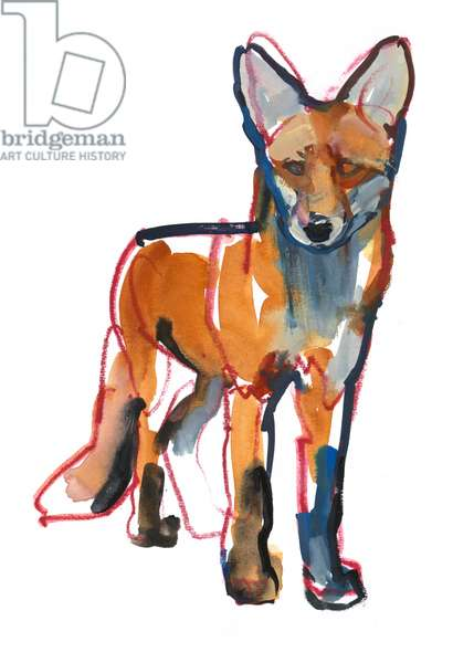 Young Fox, 2021 (mixed media on paper)
