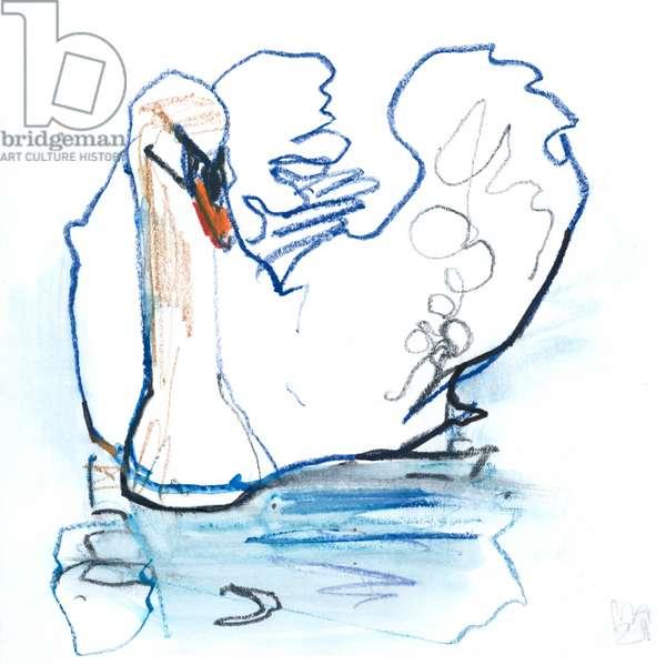 Swan Lake, 2021, (mixed media on paper)