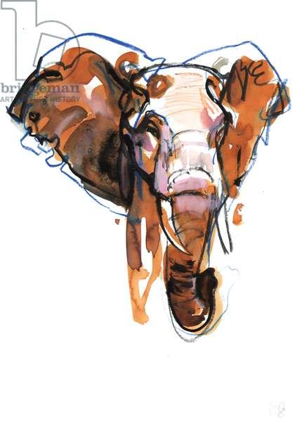 Elephant Head study, 2018, (mixed media on paper)