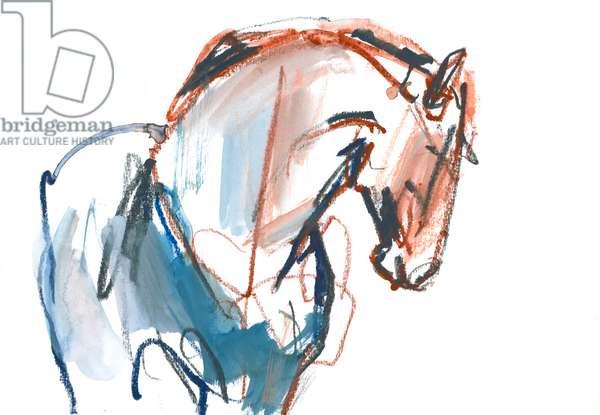 Stallion, 2021, (mixed media on paper)