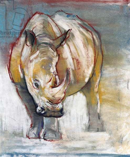 White Rhino, Ol Pejeta, 2018, (conté and pastel on paper)