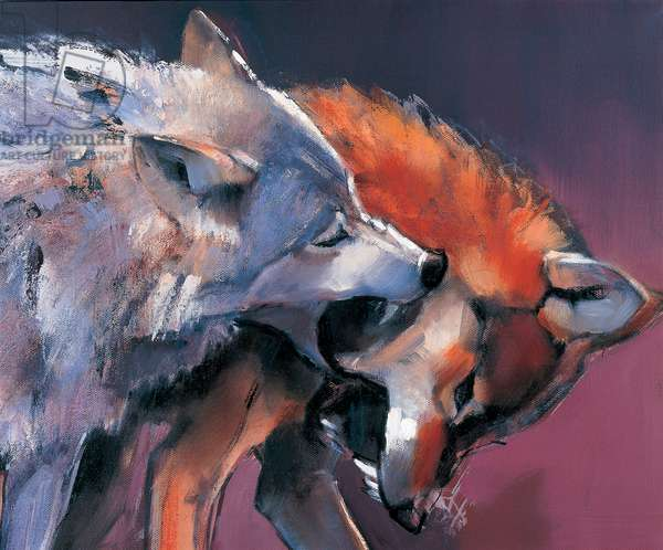 Two Wolves (oil on canvas) (detail of 275280)