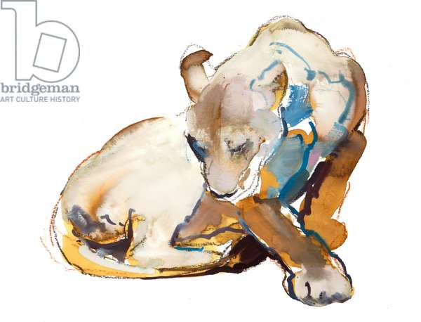 Feline Paint (lioness), 2020, (mixed media on paper)