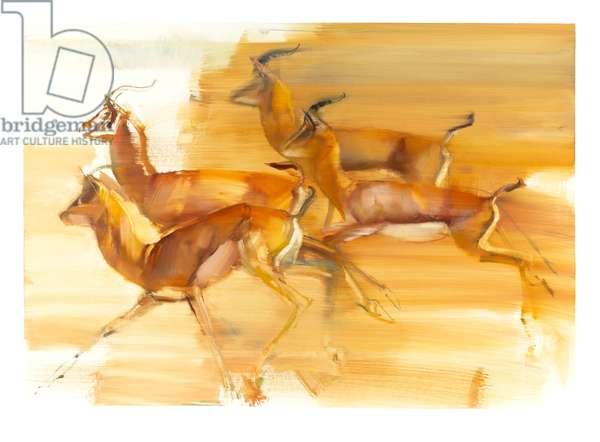Running Gazelles, 2010 (oil on paper)
