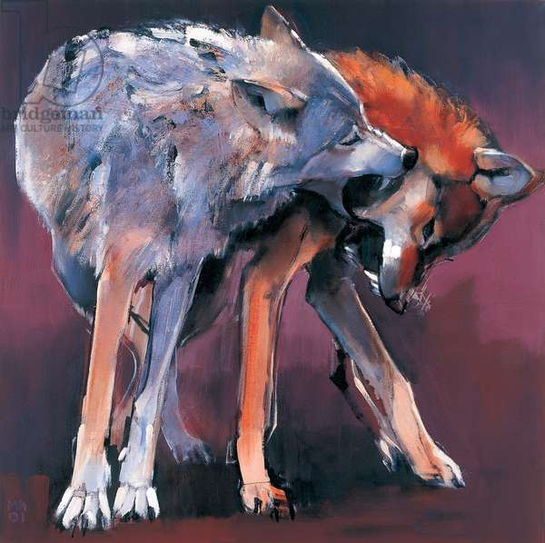Two Wolves, 2001 (oil on canvas) (see also 275217)