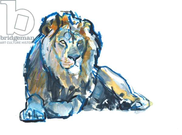Lion, 2017, (mixed media on paper)