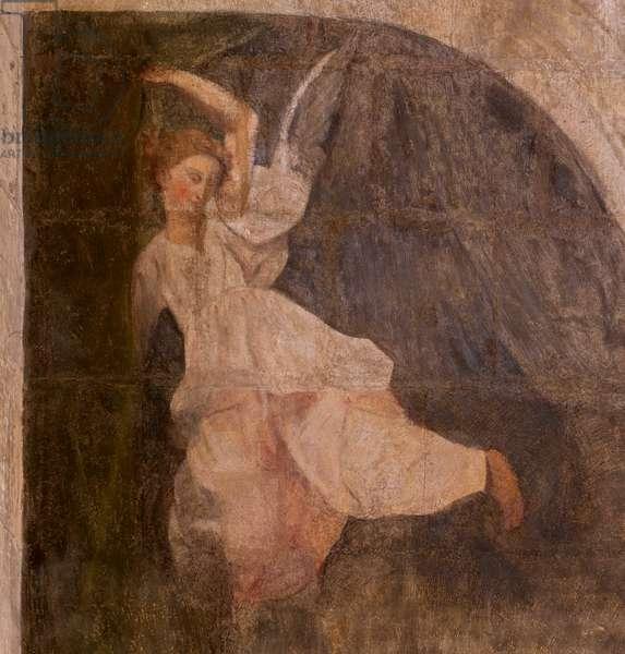Church (Eglise Saint-Jean-Baptiste). Interior. Chapel Saint-Fursy. Mural paintings. The glorification of Mary (fresque dite de la bonne mort). Begin 17th century.