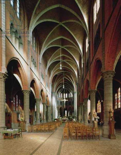 Interior view of the nave, Sint Martinuskerk, Ronse, Belgium (photo)