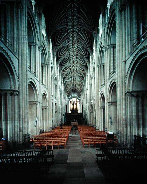 Interior view of the nave, begun 1096 (photo)