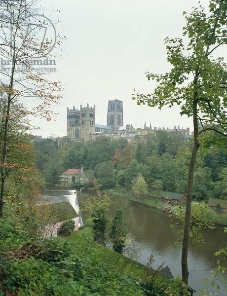 View of Durham Cathedral across the River Wear, begun 1093 (photo)