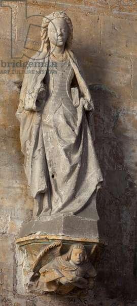 Church (Église Saint-Sauveur du Petit-Andely). Interior. Statue of a woman. Stone. 15th century.