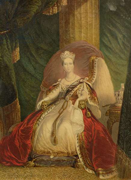 Portrait of Queen Victoria (1819-1901) (colour litho)