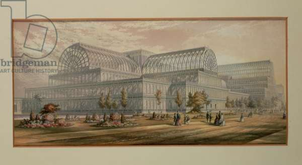 The Exterior of Crystal Palace, Sydenham, 1854 (colour lithograph)