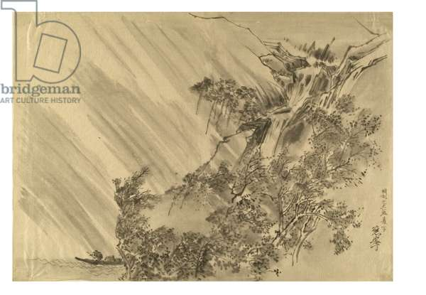 Landscape with trees and waterfall, 1889 (ink on paper)