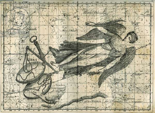 """Zodiacal Constellations - The Virgin and the Balance: The constellation of the Virgin, drawn as a young woman with two wings, carrying a branch in her right hand and an epi in her left hand, and the constellation of Libra. Engraving from Camille Flammarion's """"Les étoiles et les autres curiosites du ciel"""", 1882."""